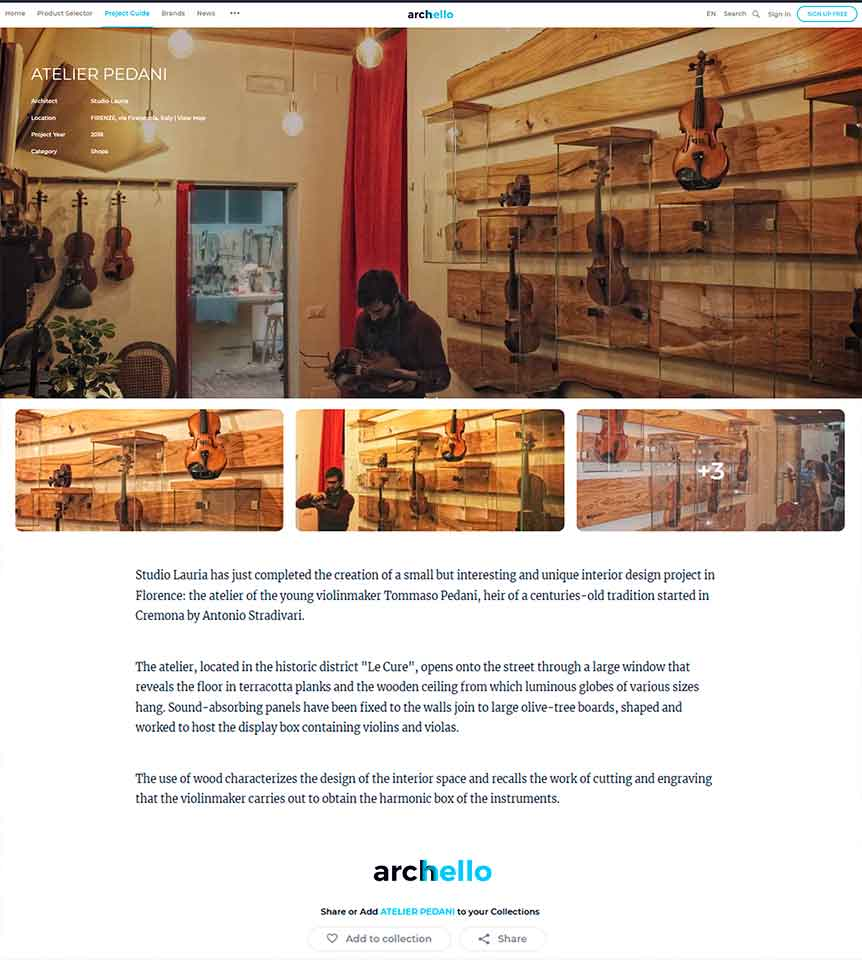 The Archello portal reviews the project that Studio Lauria carried out in Florence for the atelier of the young luthier Tommaso Pedani. A small space conceived as a sound box characterized by the use of wood, chestnut, used to support the internal display cases, and cypress for the false ceiling. 4